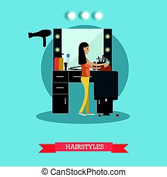Hairstyles concept vector illustration in flat style