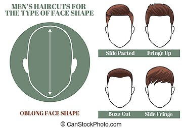 Hairstyles for oblong face shape of man. Vector illustration