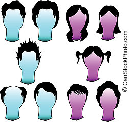 Hairstyles in vector silhouette - Hairstyles and haircuts in...