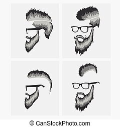 hairstyles with a beard and mustache wearing glasses -...