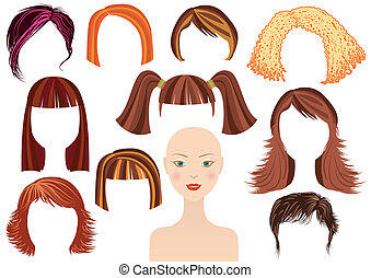 hairstyle.woman, figure, et, ensemble, de, coupes cheveux
