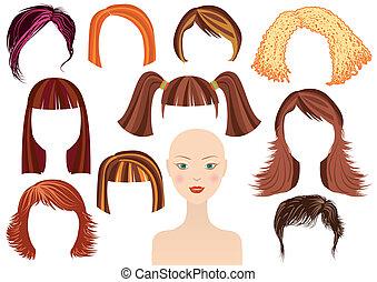 hairstyle.woman, gesicht, und, satz, von, haarschnitte