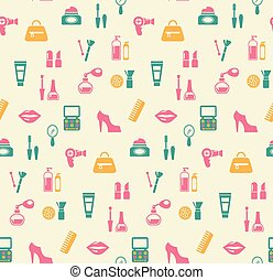 Hairstyling fashion and makeup seamless pattern - Colored...