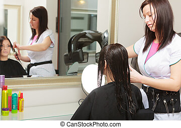 Hairstylist combing hair woman client in hairdressing beauty salon
