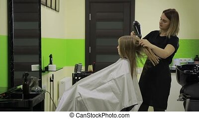 Hairstylist drying girl's hair with blow dryer - Cheerful...