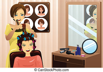 A vector illustration of hairstylist working in a salon