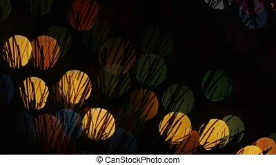 Hairy lights bokeh on black background. Shape