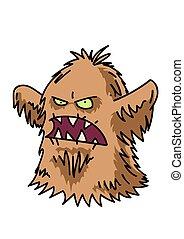 Hairy monster cartoon hand drawn image