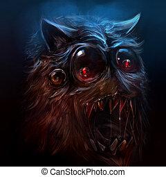 Hairy monster illustration.
