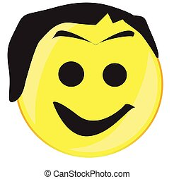 Hairy Smile Face Button Isolated