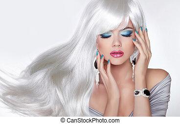haistyle, belleza, Maquillaje, ondulado, largo, rubio, pelo, niña, blanco