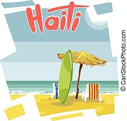 Haiti beach flyer with a green surf