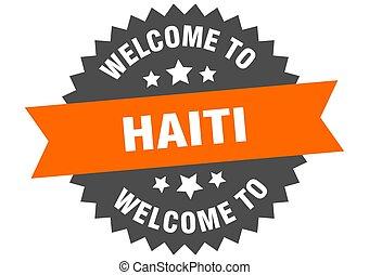 haiti, benvenuto, arancia, adesivo, segno.