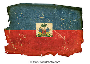Haiti Flag old, isolated on white background.