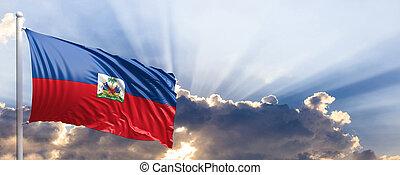 Haiti flag on blue sky. 3d illustration - Haiti waving flag...