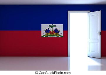 Haiti flag on empty room