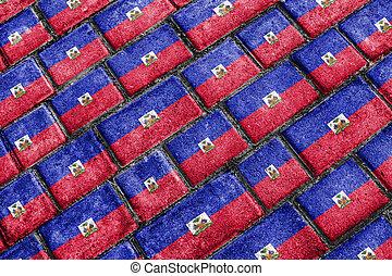 Haiti Flag Urban Grunge Pattern