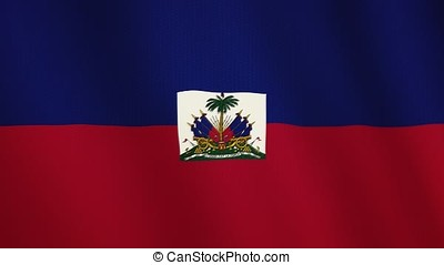 Haiti flag waving animation. Full Screen. Symbol of the country.