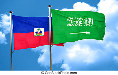 Haiti flag with Saudi Arabia flag, 3D rendering