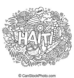 Haiti coat of arms black and white