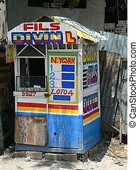 Haiti lotto hut - A lottery/bank kiosk on a Haitian street.