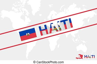 Haiti map flag and text illustration