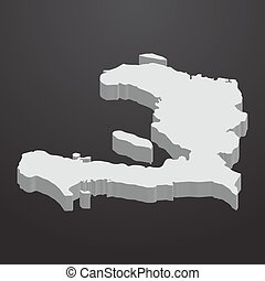 Haiti map in gray on a black background 3d