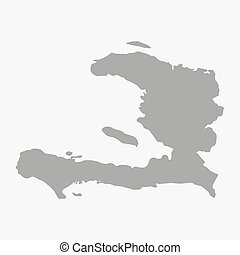 Haiti map in gray on a white background