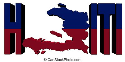 Haiti map text with flag illustration