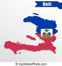 Haiti map with flag inside and ribbon