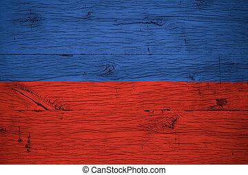 Haiti national flag painted old oak wood