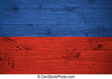 Haiti national flag painted old oak wood