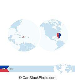Haiti on world globe with flag and regional map of Haiti. Vector Illustration.