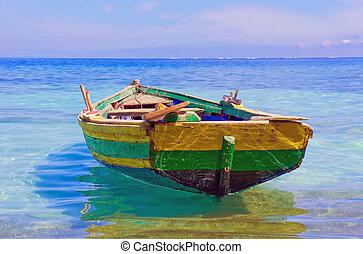 Haitian Fishing Boat - An old fishing boat docked near ...