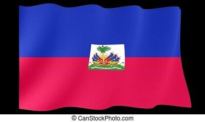 Haitian flag. Waving.