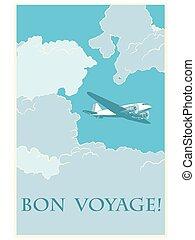 hajóút, repülőgép, retro, utalvány