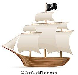 hajó, ábra, vektor, kalóz