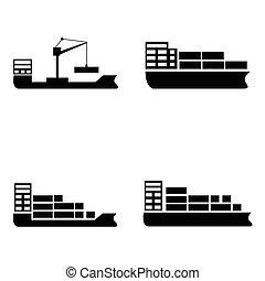 hajó, állhatatos, csónakázik, ikon