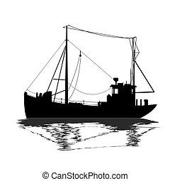 hajó, árnykép, halászat