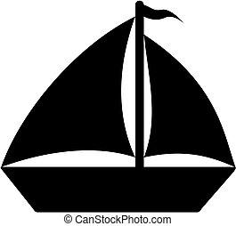hajó, árnykép, icon.