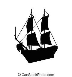 hajó, árnykép, vitorlázás
