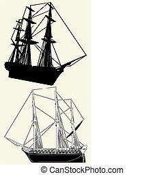 hajó, ősi, vitorlázás