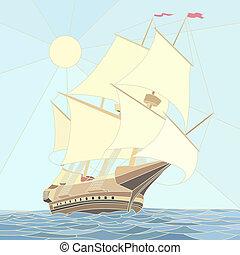 hajó, 17, vitorlázás, century.