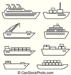 hajó, csónakázik, rakomány, logisztika, szállítás, és, hajózás, egyenes, ikonok