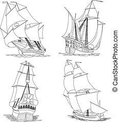 hajó, csoport, sails.