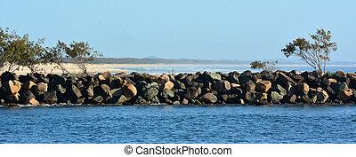 hajó haladása, ausztrália, -queensland, gold part