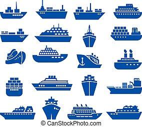 hajó, ikon, set., csónakázik