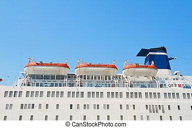 hajó, lifeboats., cirkálás