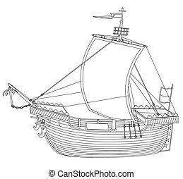 hajó, patkószeg, league.eps, közben, hanseatic, vitorlázás, hagyományos