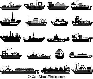 hajó, set., csónakázik, ikon